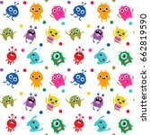 cute seamless pattern with... | Shutterstock .eps vector #662819590