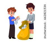kids  boys collect plastic... | Shutterstock .eps vector #662821534