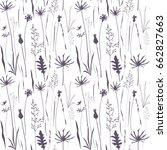 vector floral seamless pattern ... | Shutterstock .eps vector #662827663