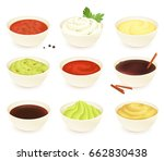set of different dipping sauces ... | Shutterstock .eps vector #662830438