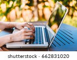 hand of woman using on laptop... | Shutterstock . vector #662831020