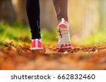 beautiful woman running over... | Shutterstock . vector #662832460