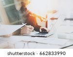 coworking process at a sunny... | Shutterstock . vector #662833990