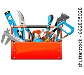 vector toolbox with hand tools   Shutterstock .eps vector #662835028