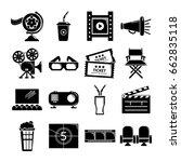 cinema icons set symbols.... | Shutterstock . vector #662835118