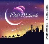 modern islamic eid mubarak card ... | Shutterstock .eps vector #662836888
