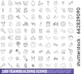 100 teambuilding icons set in... | Shutterstock . vector #662839090