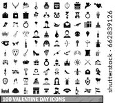 100 valentine day icons set in... | Shutterstock . vector #662839126