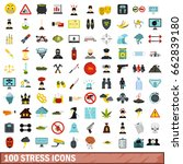 100 stress icons set in flat... | Shutterstock . vector #662839180