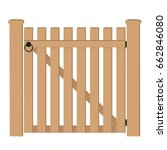 White Wooden Gate. Vector...