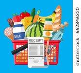 plastic shopping basket full of ... | Shutterstock .eps vector #662846320