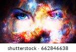 woman eyes in cosmic background....   Shutterstock . vector #662846638