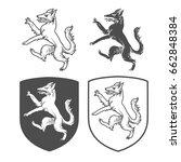 vector heraldic shields with... | Shutterstock .eps vector #662848384