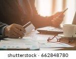 businessman hands holding smart ... | Shutterstock . vector #662848780