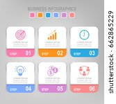 infographic template six steps...   Shutterstock .eps vector #662865229