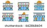 pizza shop building flat icons... | Shutterstock .eps vector #662868604