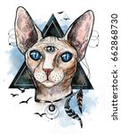 Watercolor Sphinx Cat With...