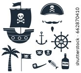 pirate theme vector silhouettes ... | Shutterstock .eps vector #662870410
