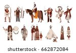 set of indians in traditional... | Shutterstock .eps vector #662872084