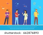 group of people using... | Shutterstock .eps vector #662876893