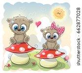 Two Cute Cartoon Bears Are...