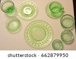 green block optic dinner ware | Shutterstock . vector #662879950