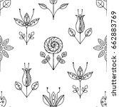 vector hand drawn seamless...   Shutterstock .eps vector #662883769