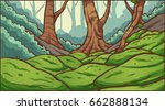 forest with mossy rocks... | Shutterstock .eps vector #662888134