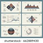 six analytics charts slide... | Shutterstock .eps vector #662889430