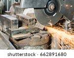 circular cutting disc cuts off... | Shutterstock . vector #662891680