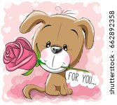 Stock photo greeting card cute cartoon puppy with flower on a pink background 662892358