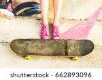 Skateboarder Girl Rest After...