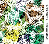 seamless exotic pattern with... | Shutterstock .eps vector #662895376