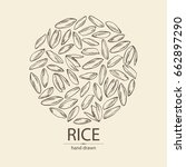 background with grain of rice.... | Shutterstock .eps vector #662897290