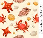 seamless pattern summer beach... | Shutterstock .eps vector #662897758