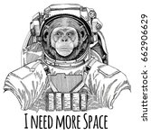 chimpanzee monkey wearing space ... | Shutterstock . vector #662906629