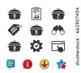 cooking pan icons. boil 5  6  7 ...