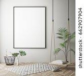 mock up poster frame in hipster ... | Shutterstock . vector #662907904