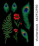 fern  feather peacock and poppy ... | Shutterstock .eps vector #662912950