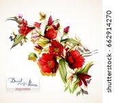 bouquet of flowers. wild... | Shutterstock .eps vector #662914270