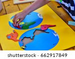 creative playing with puzzle  ...   Shutterstock . vector #662917849