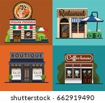 a set of facades of an italian... | Shutterstock .eps vector #662919490