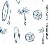 surfing pattern. summer doodles.... | Shutterstock .eps vector #662920858