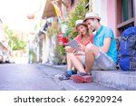 digital guide. tourism and... | Shutterstock . vector #662920924