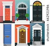 entrance doors. a set of... | Shutterstock .eps vector #662921986