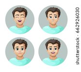 young man face expression  set... | Shutterstock .eps vector #662926030