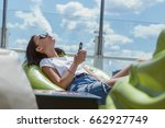 beautiful brunette smoke...   Shutterstock . vector #662927749