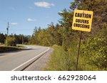 golfers crossing sign on rural... | Shutterstock . vector #662928064