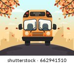 school bus on a street. flat... | Shutterstock .eps vector #662941510