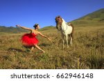 beautiful ballerina with red... | Shutterstock . vector #662946148